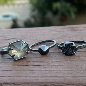 Kendra Scott set of 3 gunmetal rings